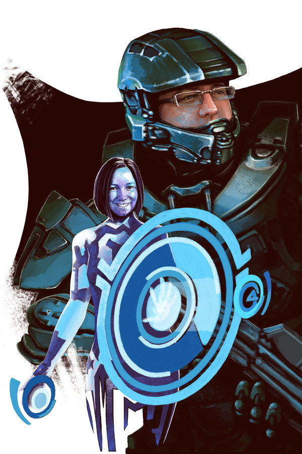 Master Chief & Cort-Ana © Janice Duke. Portrait for wedding.