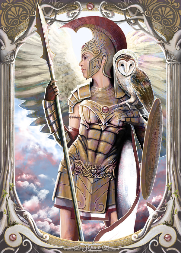 Athena © Janice Duke. Illustration of the ancient greek goddess Athena. Personal work.