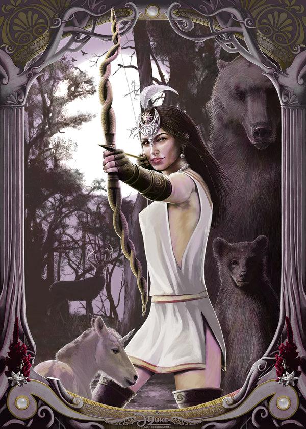Artemis © Janice Duke. Illustration of the ancient greek goddess Artemis. Personal work.