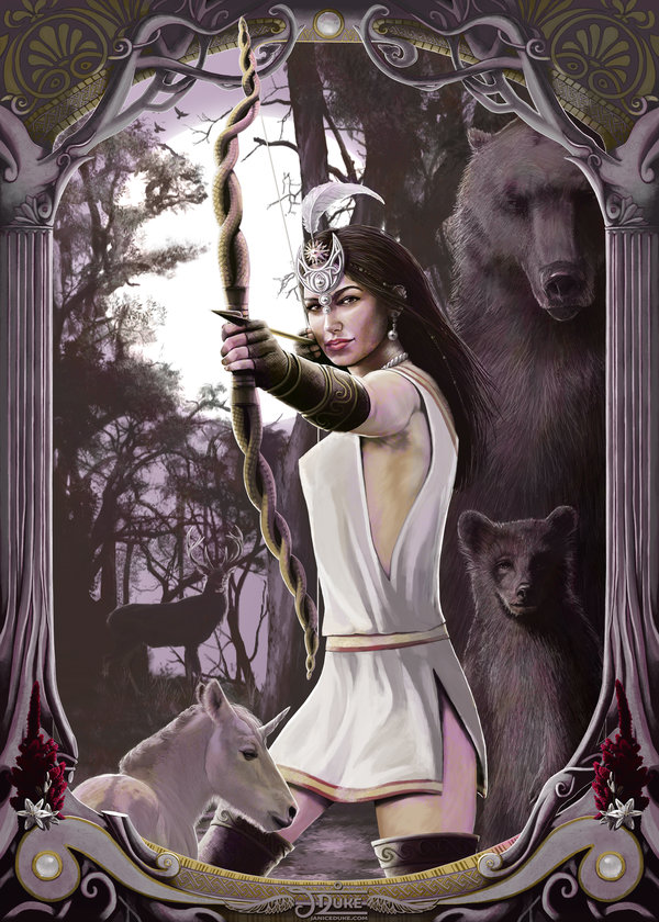 Artemis © Janice Duke. Illustration of the ancient greek goddess Artemis. Personal work.