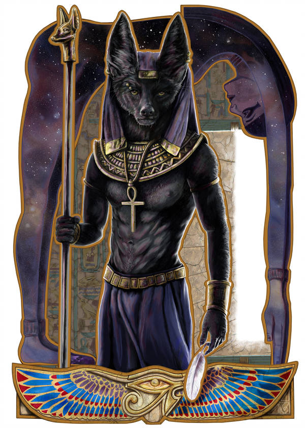 Anubis © Janice Duke. Full page illustration for Hawk Divine by Janice Duke.