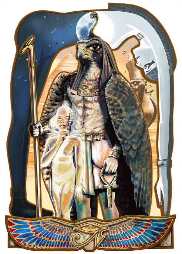 Horus © Janice Duke. Full page illustration for Hawk Divine by Janice Duke.