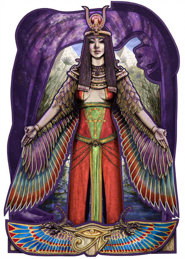 Isis © Janice Duke. Full page illustration for Hawk Divine by Janice Duke.