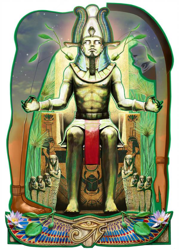 Osiris © Janice Duke. Full page illustration for Hawk Divine by Janice Duke.