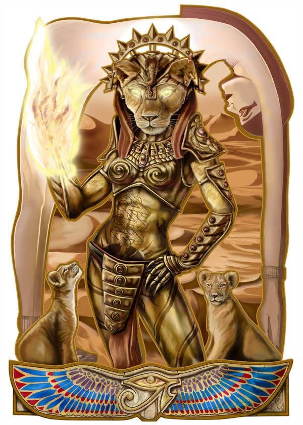 Sekhmet © Janice Duke. Full page illustration for Hawk Divine by Janice Duke.