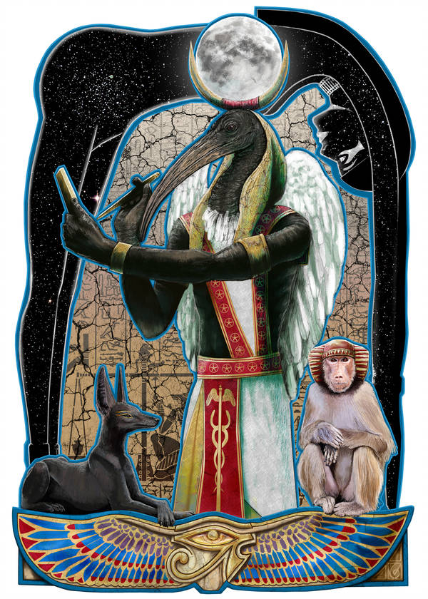 Thoth © Janice Duke. Full page illustration for Hawk Divine by Janice Duke.