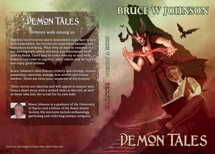 Book cover for Demon Tales by Bruce W. Johnson. © Janice Duke